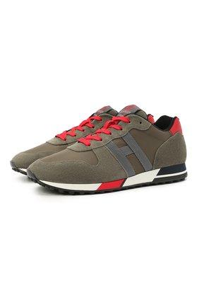Мужские комбинированные кроссовки HOGAN хаки цвета, арт. HXM3830AN51N5T | Фото 1