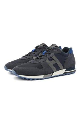 Мужские комбинированные кроссовки HOGAN темно-синего цвета, арт. HXM3830AN51N4X | Фото 1