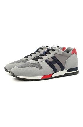 Мужские комбинированные кроссовки HOGAN светло-серого цвета, арт. HXM3830AN51JHM | Фото 1