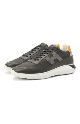 Мужские комбинированные кроссовки HOGAN серого цвета, арт. HXM3710AJ18PFS | Фото 1