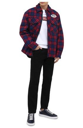 Мужские кожаные кеды HOGAN темно-синего цвета, арт. HXM3650J960KLA | Фото 2