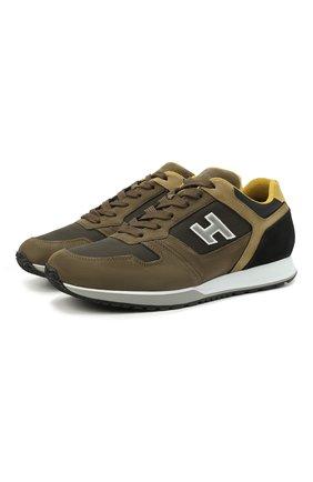 Мужские комбинированные кроссовки HOGAN хаки цвета, арт. HXM3210Y860P9S | Фото 1