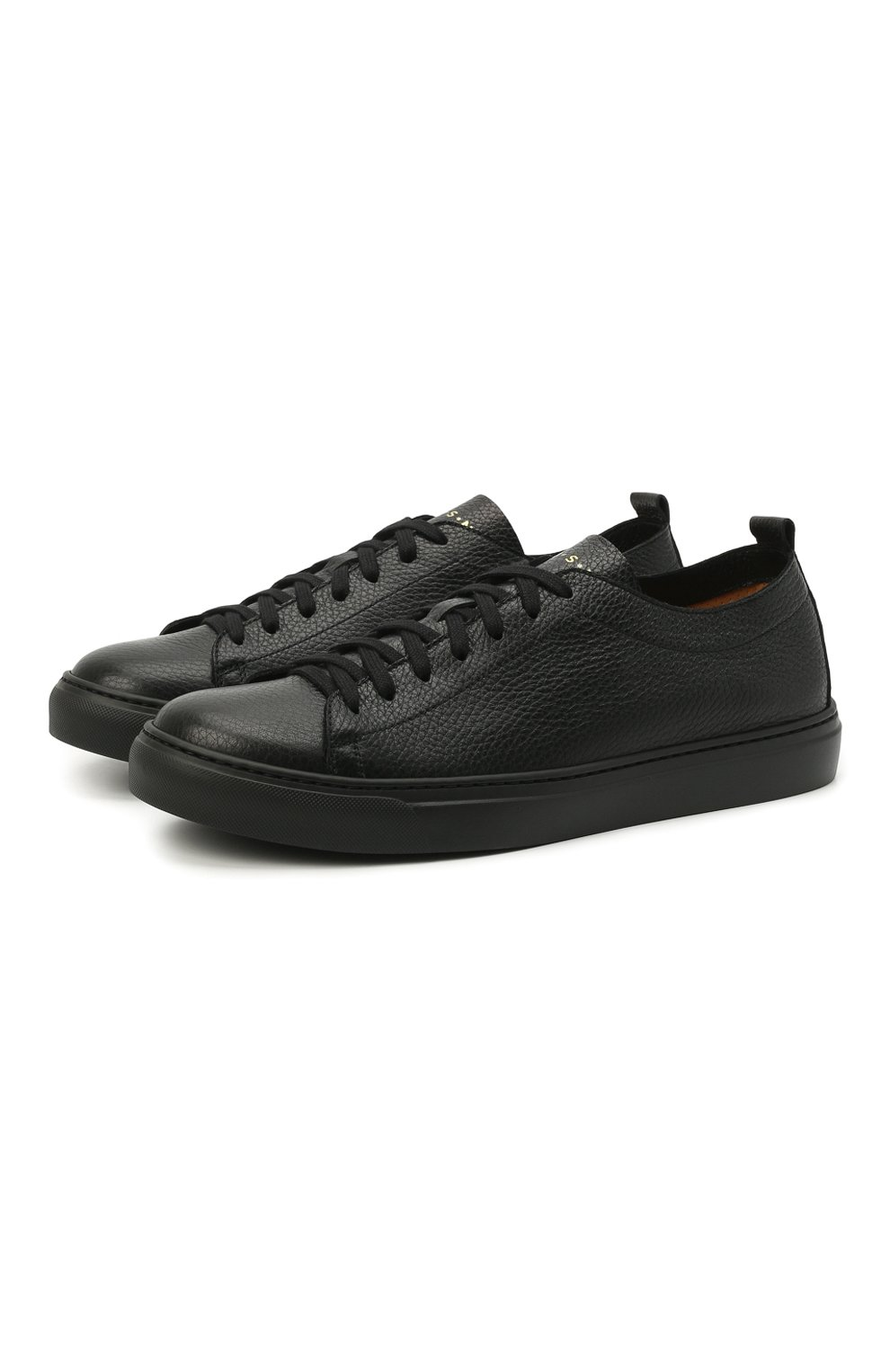 Мужские кожаные кеды H`D`S`N BARACCO черного цвета, арт. BRYAN.24N*   Фото 1 (Материал внутренний: Натуральная кожа; Подошва: Массивная)