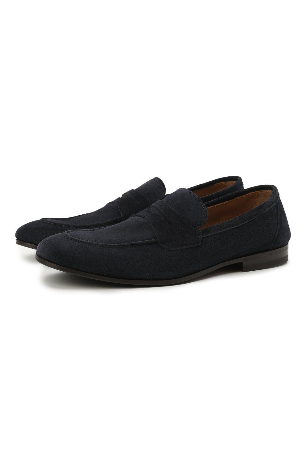 Мужские замшевые пенни-лоферы H`D`S`N BARACCO темно-синего цвета, арт. 71402.S.0* | Фото 1 (Мужское Кросс-КТ: Лоферы-обувь; Материал внутренний: Натуральная кожа; Материал внешний: Замша; Стили: Кэжуэл)