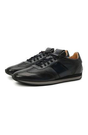 Мужские кожаные кроссовки SANTONI синего цвета, арт. MBLC21448NGNMAPLU60   Фото 1 (Стили: Классический; Подошва: Плоская; Материал внутренний: Натуральная кожа)