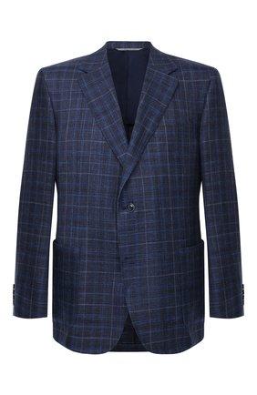 Мужской пиджак из шерсти и шелка CANALI темно-синего цвета, арт. 21288/CF01079/116/60-64   Фото 1