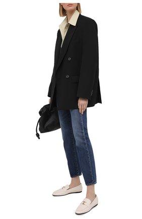 Женские кожаные лоферы TOD'S белого цвета, арт. XXW35B0ED10TRP | Фото 2
