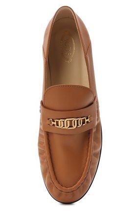 Женские кожаные лоферы TOD'S коричневого цвета, арт. XXW02E0EE40MID   Фото 5