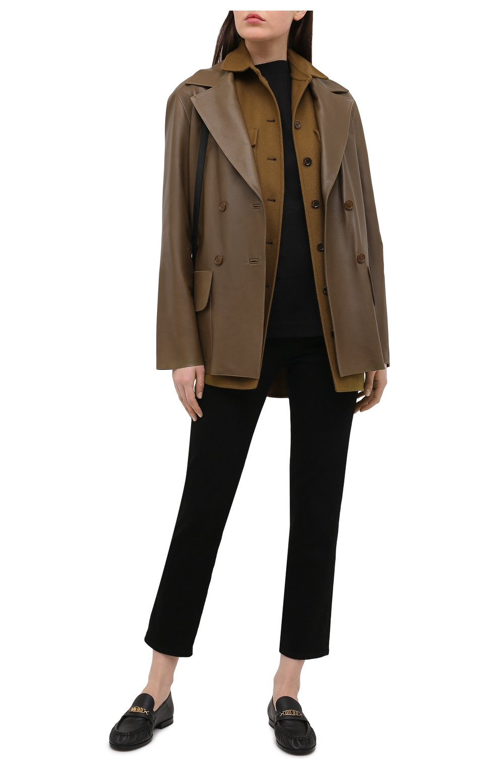 Женские кожаные лоферы TOD'S черного цвета, арт. XXW02E0EE40MID   Фото 2