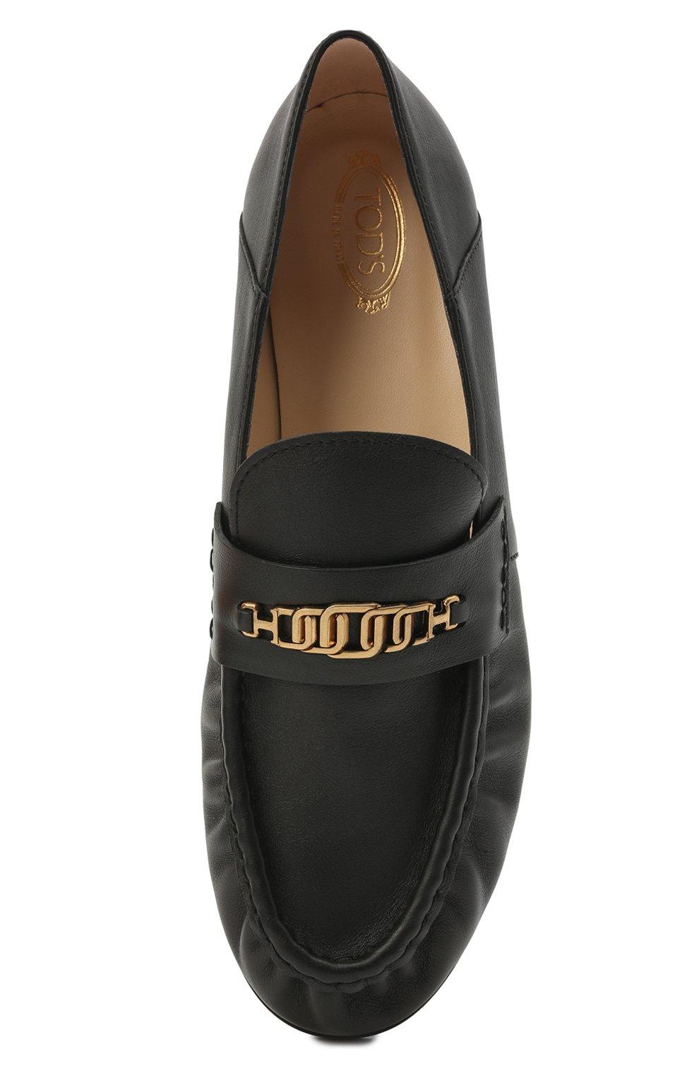 Женские кожаные лоферы TOD'S черного цвета, арт. XXW02E0EE40MID   Фото 5