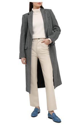 Женские кожаные пенни-лоферы TOD'S голубого цвета, арт. XXW02E0EC600G9 | Фото 2