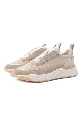 Женские кожаные кроссовки SANTONI бежевого цвета, арт. WBI060823BTTXBNHI45 | Фото 1