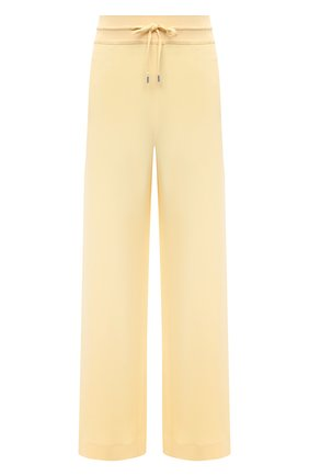 Женские шелковые брюки LORO PIANA желтого цвета, арт. FAI9859   Фото 1 (Материал внешний: Шелк; Силуэт Ж (брюки и джинсы): Расклешенные; Длина (брюки, джинсы): Стандартные; Женское Кросс-КТ: Брюки-одежда; Стили: Спорт-шик)