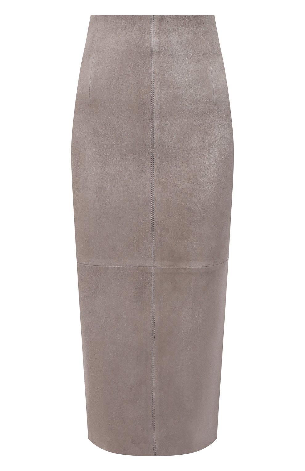 Женская кожаная юбка BRUNELLO CUCINELLI серого цвета, арт. M0W30G3063 | Фото 1