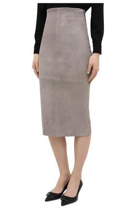Женская кожаная юбка BRUNELLO CUCINELLI серого цвета, арт. M0W30G3063 | Фото 3