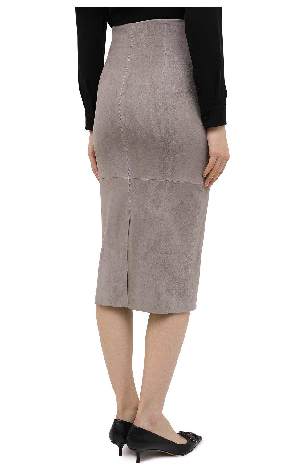 Женская кожаная юбка BRUNELLO CUCINELLI серого цвета, арт. M0W30G3063 | Фото 4