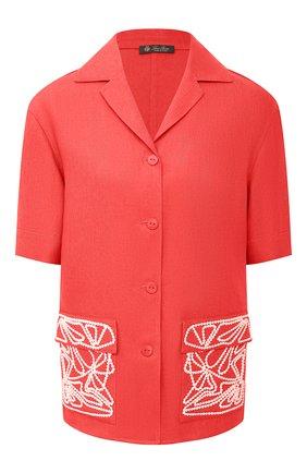 Женская льняная рубашка LORO PIANA кораллового цвета, арт. FAL6310 | Фото 1