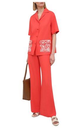 Женская льняная рубашка LORO PIANA кораллового цвета, арт. FAL6310 | Фото 2