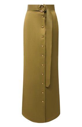 Женская юбка из вискозы и льна BALLY хаки цвета, арт. L4BA261F-4040/551 | Фото 1