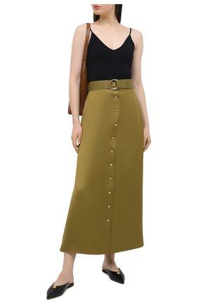 Женская юбка из вискозы и льна BALLY хаки цвета, арт. L4BA261F-4040/551 | Фото 2