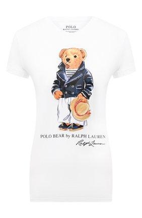Женская хлопковая футболка POLO RALPH LAUREN белого цвета, арт. 211827926 | Фото 1