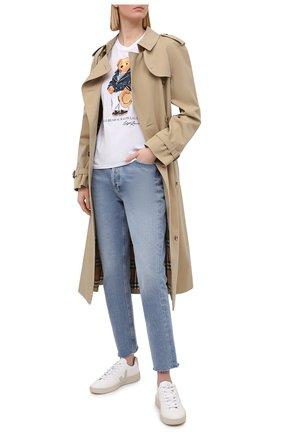 Женская хлопковая футболка POLO RALPH LAUREN белого цвета, арт. 211827926 | Фото 2