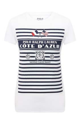 Женская хлопковая футболка POLO RALPH LAUREN белого цвета, арт. 211827904 | Фото 1
