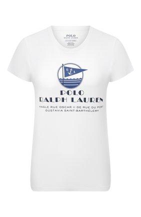 Женская хлопковая футболка POLO RALPH LAUREN белого цвета, арт. 211827901 | Фото 1
