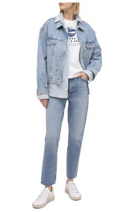 Женская хлопковая футболка POLO RALPH LAUREN белого цвета, арт. 211827901 | Фото 2