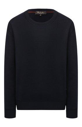 Женский шелковый пуловер LORO PIANA темно-синего цвета, арт. FAL5215   Фото 1