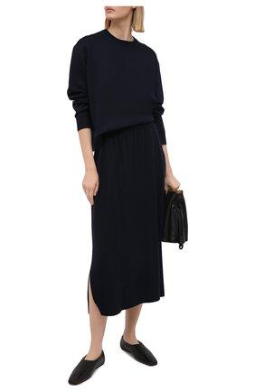 Женский шелковый пуловер LORO PIANA темно-синего цвета, арт. FAL5215   Фото 2