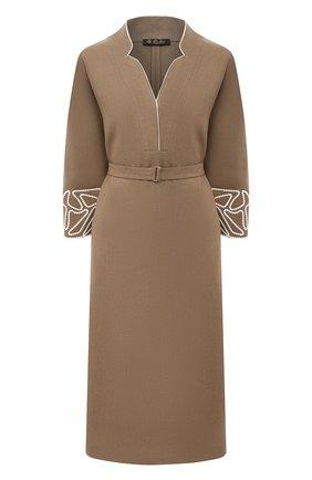 Женское льняное платье LORO PIANA коричневого цвета, арт. FAL6299 | Фото 1