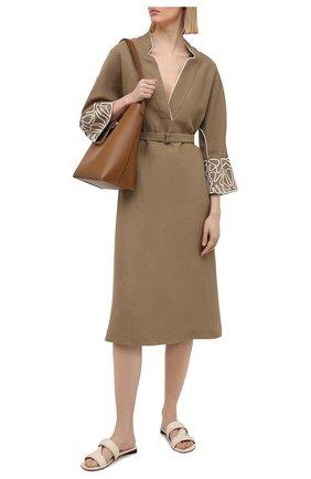 Женское льняное платье LORO PIANA коричневого цвета, арт. FAL6299 | Фото 2