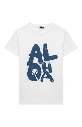 Детский хлопковая футболка IL GUFO белого цвета, арт. P21TS274M0014/10A-12A | Фото 1