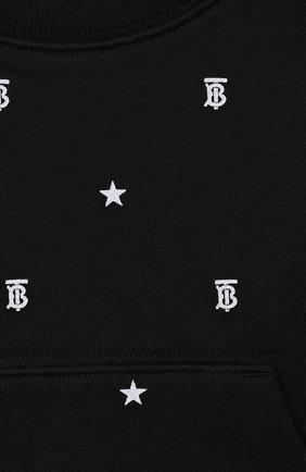 Детский хлопковый свитшот BURBERRY черного цвета, арт. 8037012 | Фото 3