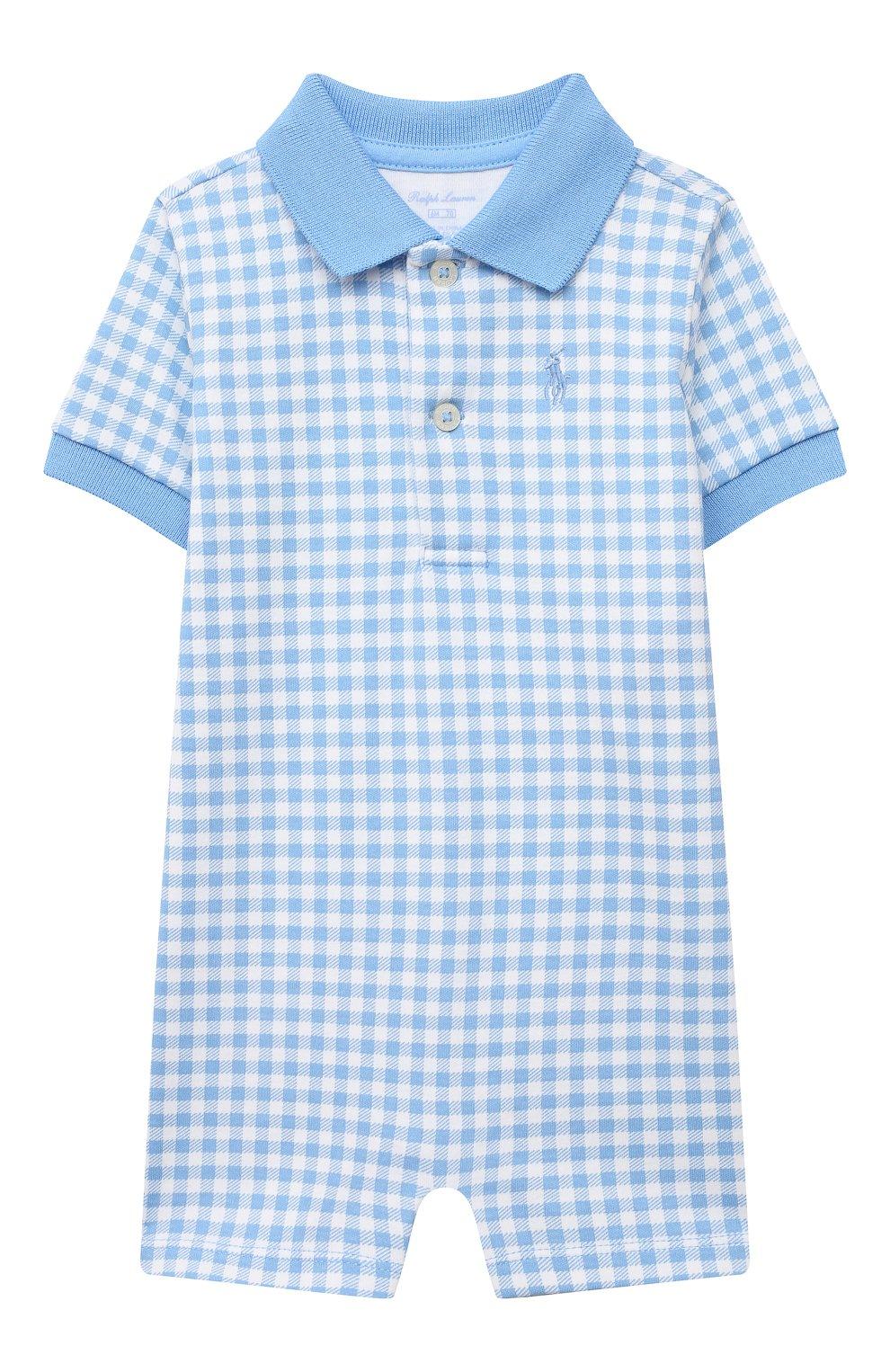 Детское хлопковый комбинезон POLO RALPH LAUREN голубого цвета, арт. 320785259 | Фото 1