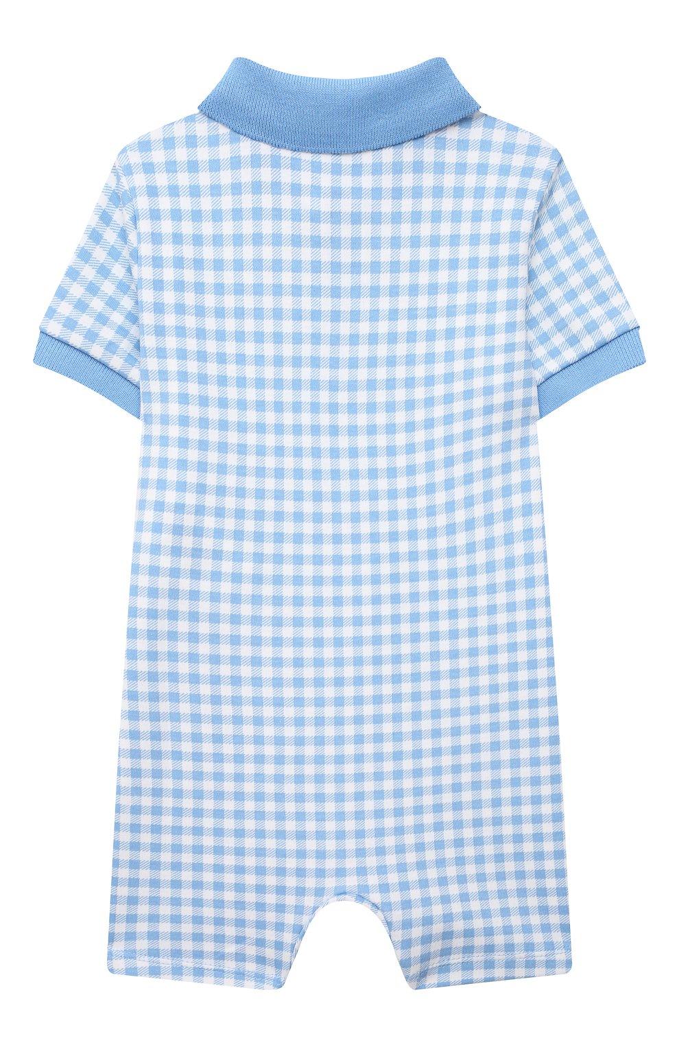 Детское хлопковый комбинезон POLO RALPH LAUREN голубого цвета, арт. 320785259 | Фото 2