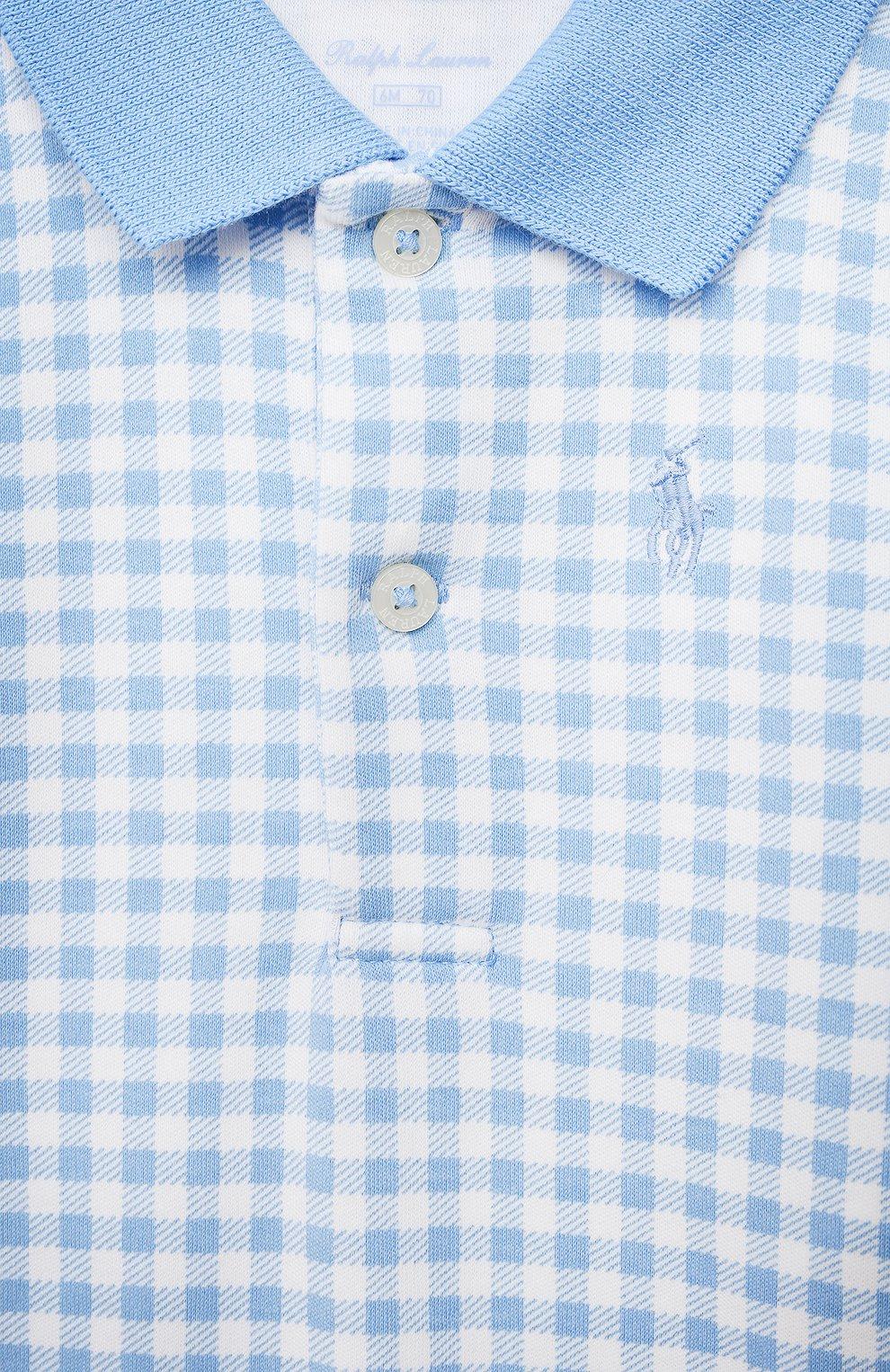Детское хлопковый комбинезон POLO RALPH LAUREN голубого цвета, арт. 320785259 | Фото 3