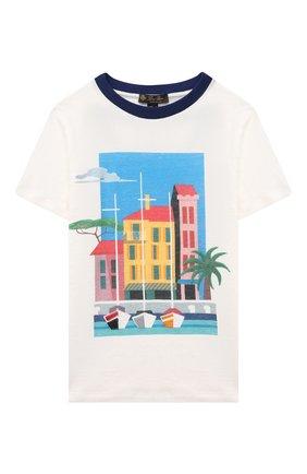 Детская льняная футболка LORO PIANA белого цвета, арт. FAL5921 | Фото 1