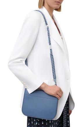 Женская сумка my way p LORO PIANA голубого цвета, арт. FAL5585   Фото 2 (Размер: small; Материал: Натуральная кожа; Ремень/цепочка: На ремешке; Сумки-технические: Сумки через плечо)