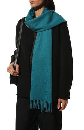 Женский кашемировый шарф grande unita LORO PIANA бирюзового цвета, арт. FAA1056   Фото 2 (Материал: Кашемир, Шерсть)