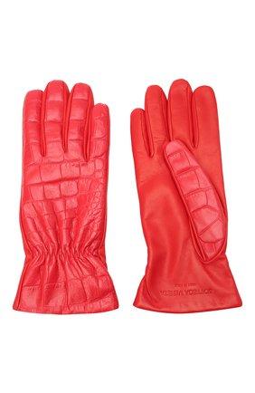 Женские кожаные перчатки BOTTEGA VENETA красного цвета, арт. 652192/3V00G | Фото 2 (Материал: Кожа)