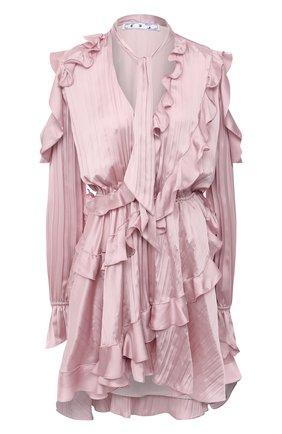 Женское платье OFF-WHITE розового цвета, арт. 0WDB294R21FAB001 | Фото 1 (Материал подклада: Синтетический материал; Случай: Коктейльный; Стили: Романтичный; Рукава: Длинные; Материал внешний: Синтетический материал; Женское Кросс-КТ: Платье-одежда; Длина Ж (юбки, платья, шорты): Мини)