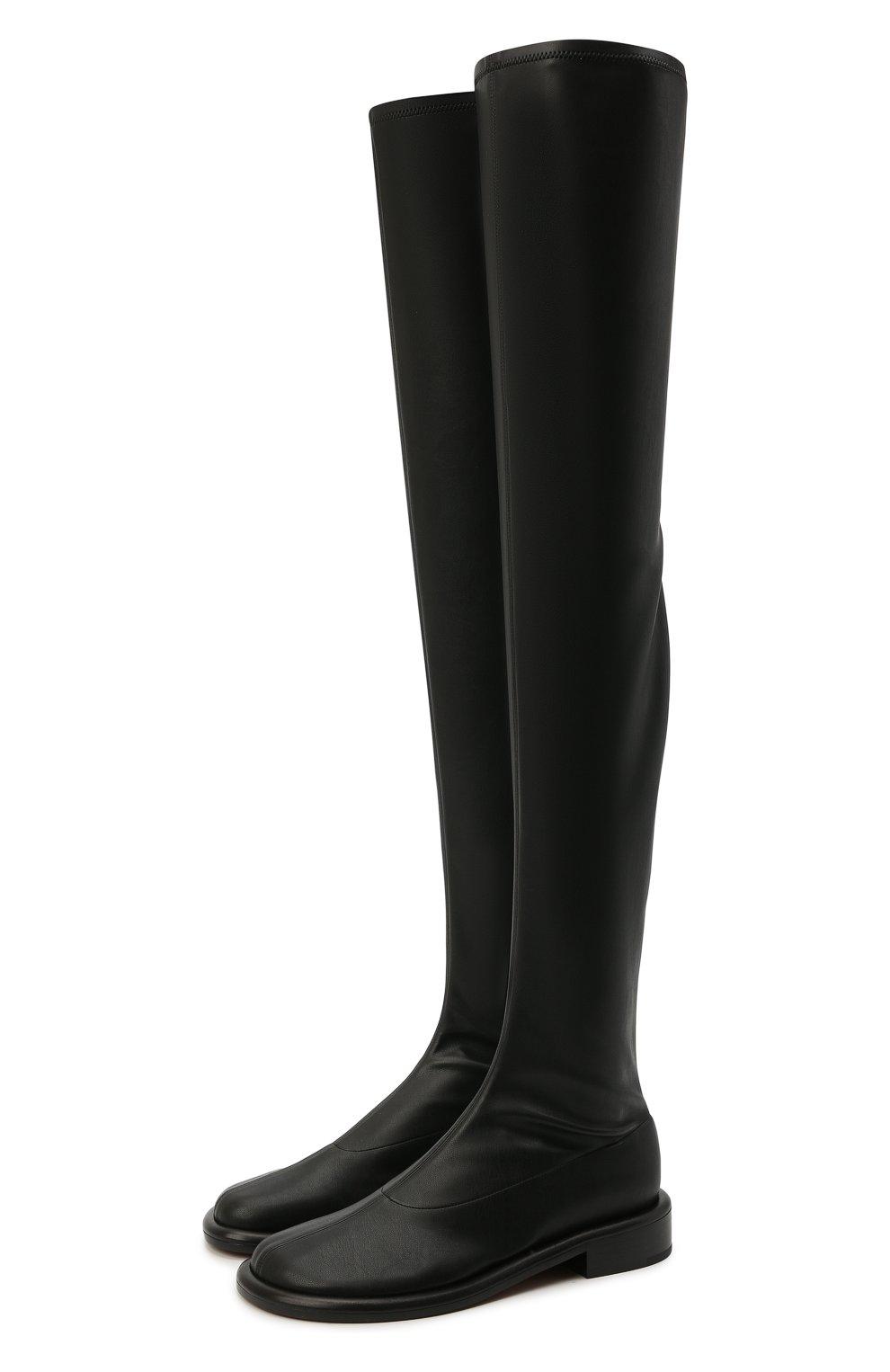 Женские комбинированные ботфорты PROENZA SCHOULER черного цвета, арт. PS36004B/13050 | Фото 1 (Материал внешний: Экокожа, Текстиль; Каблук высота: Низкий; Высота голенища: Высокие; Материал внутренний: Натуральная кожа; Каблук тип: Устойчивый; Подошва: Плоская)