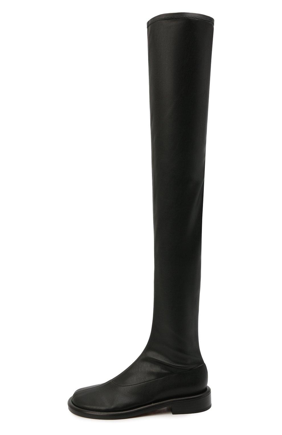 Женские комбинированные ботфорты PROENZA SCHOULER черного цвета, арт. PS36004B/13050 | Фото 3 (Материал внешний: Экокожа, Текстиль; Каблук высота: Низкий; Высота голенища: Высокие; Материал внутренний: Натуральная кожа; Каблук тип: Устойчивый; Подошва: Плоская)