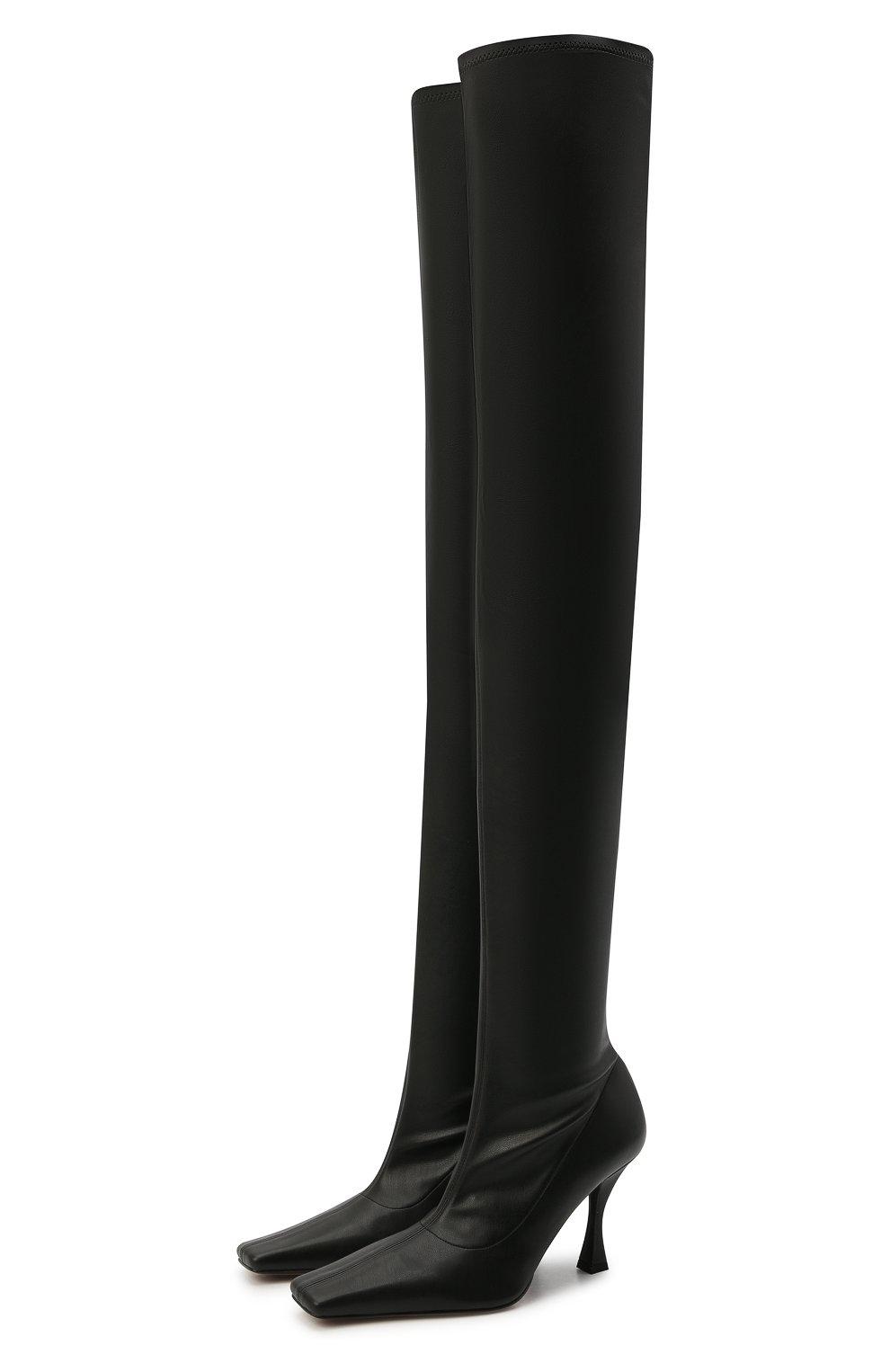Женские комбинированные ботфорты PROENZA SCHOULER черного цвета, арт. PS35212B/12310   Фото 1 (Материал внешний: Экокожа, Текстиль; Каблук высота: Высокий; Высота голенища: Высокие; Материал внутренний: Натуральная кожа; Каблук тип: Устойчивый; Подошва: Плоская)