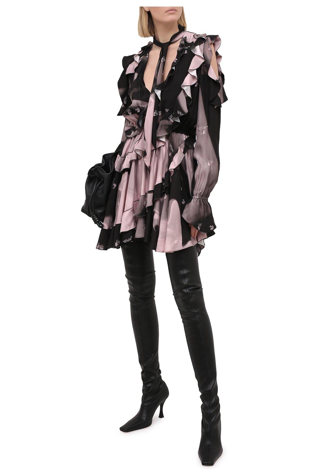 Женские комбинированные ботфорты PROENZA SCHOULER черного цвета, арт. PS35212B/12310   Фото 2 (Материал внешний: Экокожа, Текстиль; Каблук высота: Высокий; Высота голенища: Высокие; Материал внутренний: Натуральная кожа; Каблук тип: Устойчивый; Подошва: Плоская)