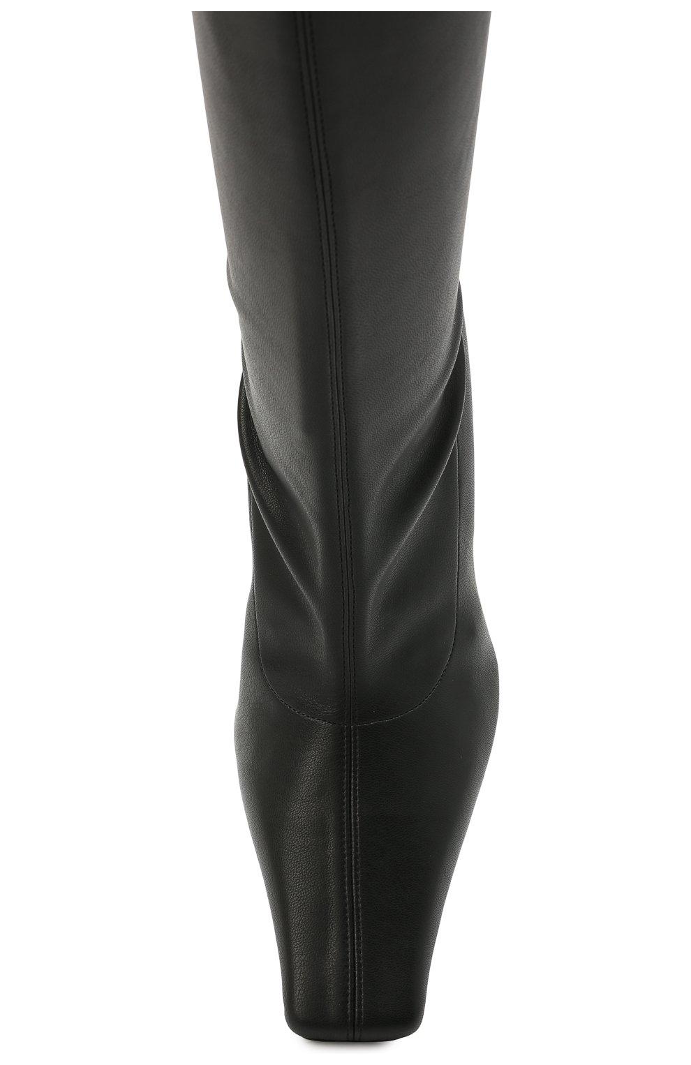 Женские комбинированные ботфорты PROENZA SCHOULER черного цвета, арт. PS35212B/12310   Фото 5 (Материал внешний: Экокожа, Текстиль; Каблук высота: Высокий; Высота голенища: Высокие; Материал внутренний: Натуральная кожа; Каблук тип: Устойчивый; Подошва: Плоская)