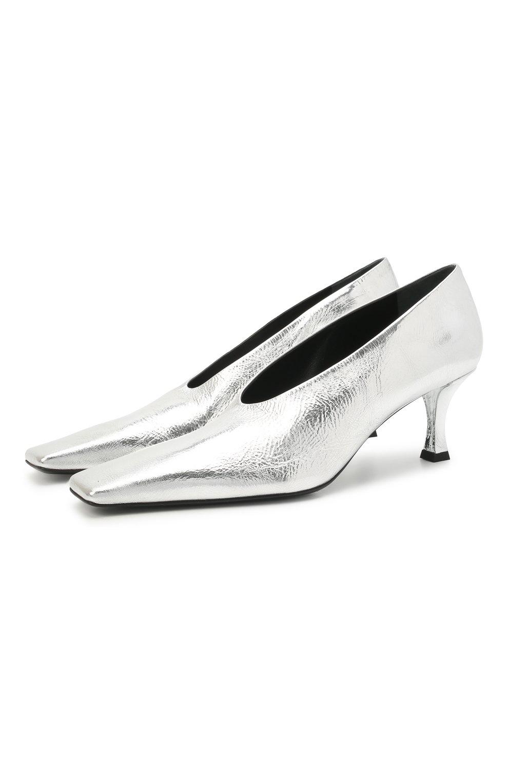 Женские кожаные туфли PROENZA SCHOULER серебряного цвета, арт. PS35202A/13031 | Фото 1 (Материал внутренний: Натуральная кожа; Каблук высота: Средний; Каблук тип: Шпилька; Подошва: Плоская)