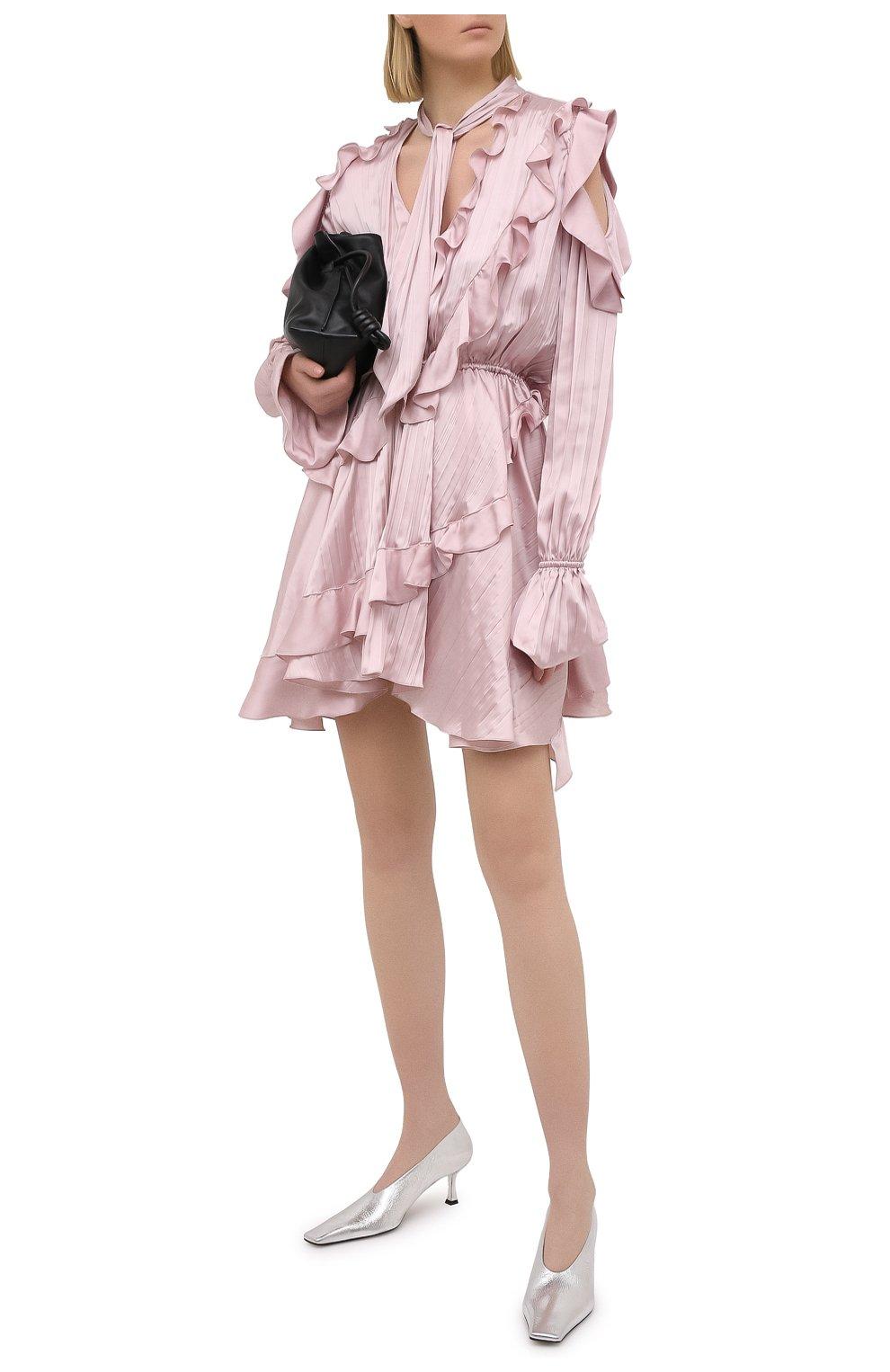 Женские кожаные туфли PROENZA SCHOULER серебряного цвета, арт. PS35202A/13031 | Фото 2 (Материал внутренний: Натуральная кожа; Каблук высота: Средний; Каблук тип: Шпилька; Подошва: Плоская)